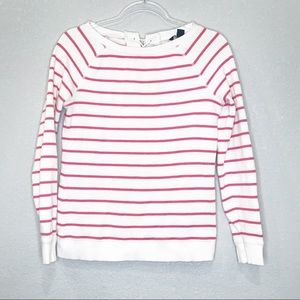 Tommy Hilfiger white & pink stripe lace up sweater